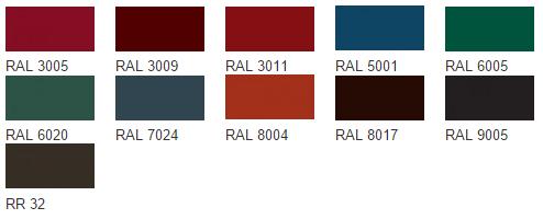 Возможные цвета металлочерепицы покрытия VELUR