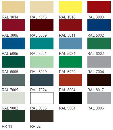 Возможные цвета металлочерепицы покрытия ПОЛИЭСТЕР