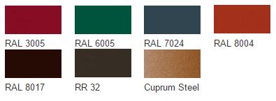 Возможные цвета металлочерепицы покрытия QUARZIT